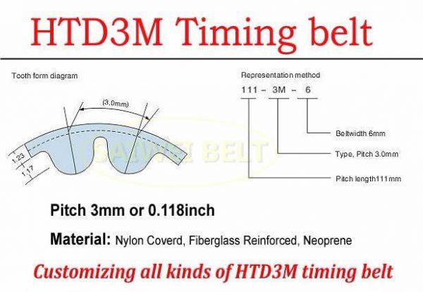 HTD 3M timing belt porfile